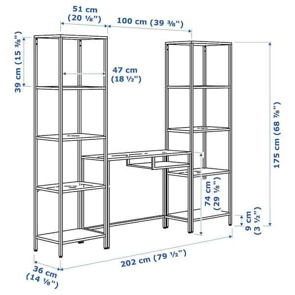 VITTSJÖ Scaffale/tavolo per PC portatile, marrone-nero/vetro, 202x36x175 cm