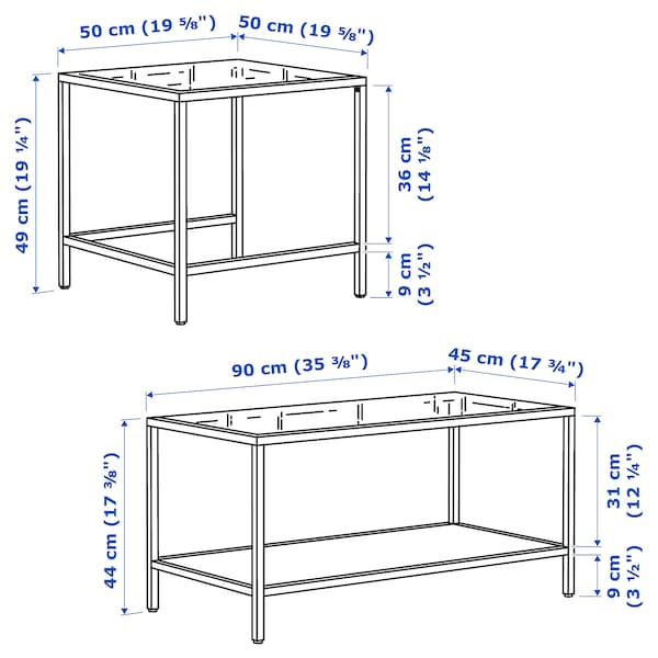 VITTSJÖ Set di 2 tavolini, marrone-nero/vetro, 90x50 cm