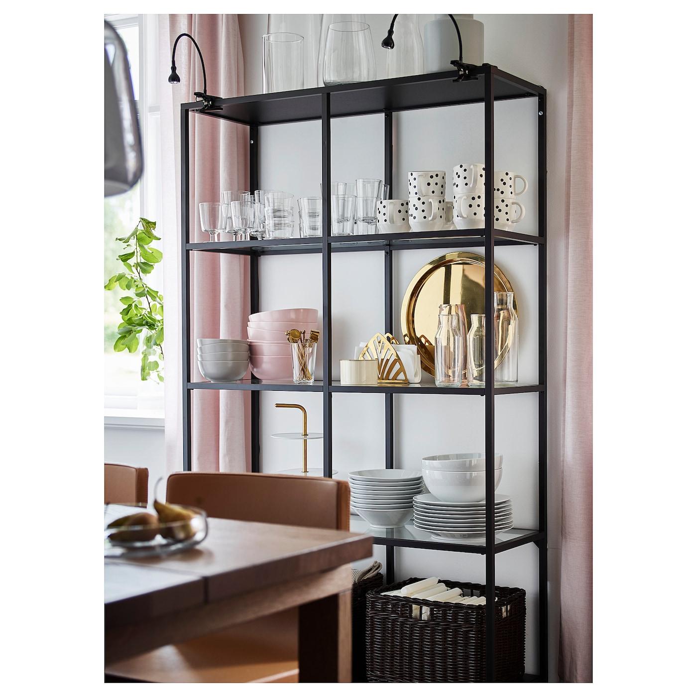 Libreria Da Parete Ikea vittsjÖ scaffale - marrone-nero, vetro 100x175 cm
