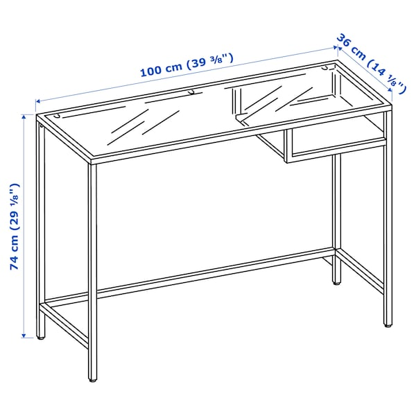 VITTSJÖ Tavolo per PC portatile, marrone-nero/vetro, 100x36 cm