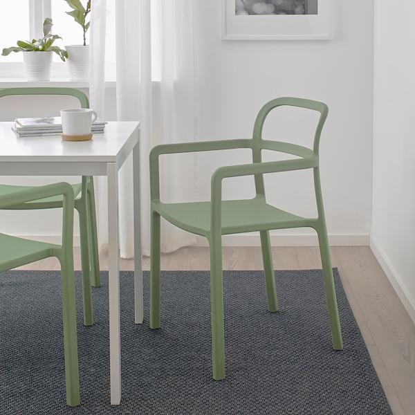 YPPERLIG Sedia con braccioli interno/esterno, verde - IKEA