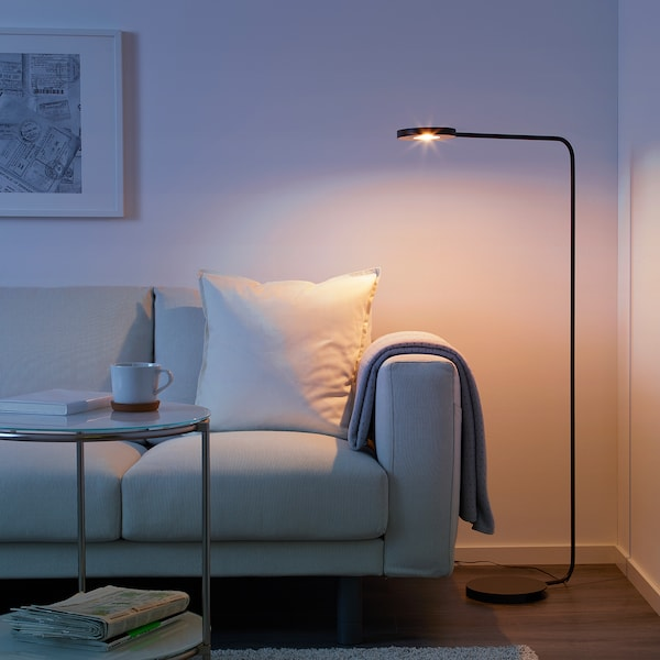 YPPERLIG Lampada da terra a LED, grigio scuro