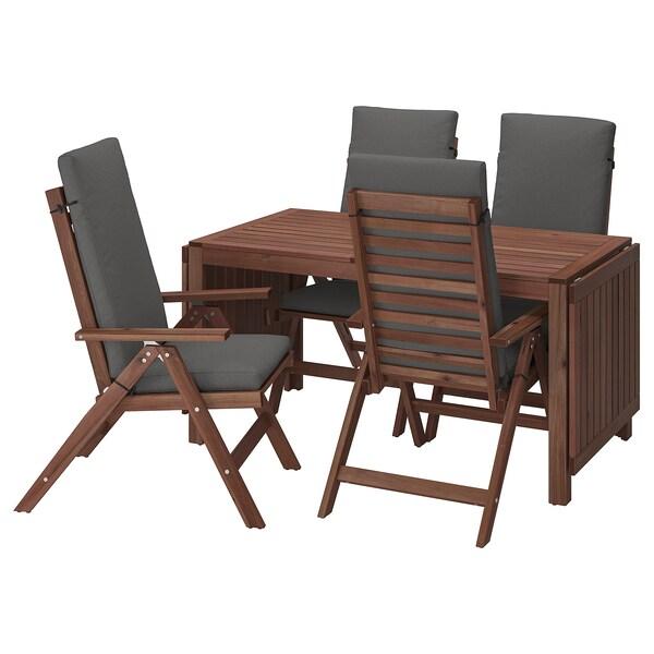 ÄPPLARÖ طاولة+4 كراسي استلقاء، خارجية صباغ بني/Froson/Duvholmen رمادي غامق