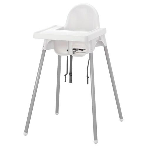 ANTILOP كرسي مرتفع مع صينية أبيض/لون-فضي 56 سم 62 سم 90 سم 25 سم 22 سم 54 سم 15 كلغ
