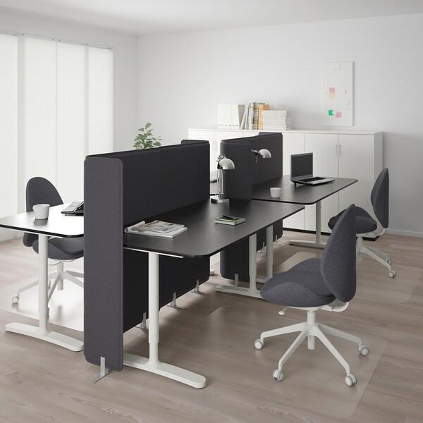BEKANT مكتب مع حاجز قشرة الدردار لون الأسود/أبيض 120 سم 320 سم 160 سم 65 سم 125 سم 70 كلغ