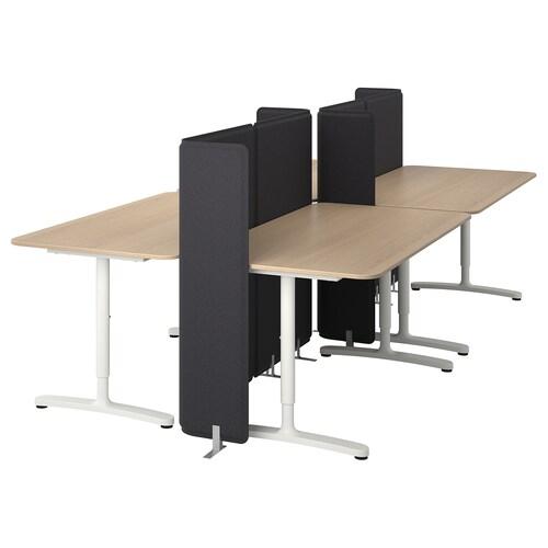 BEKANT مكتب مع حاجز قشرة سنديان مصبوغ أبيض/أبيض 120 سم 320 سم 160 سم 65 سم 125 سم 70 كلغ