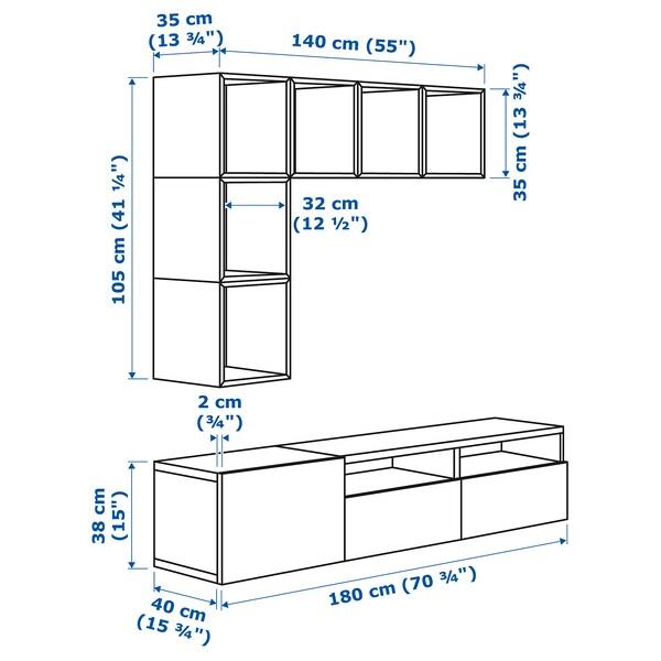 BESTÅ / EKET تشكيلة خزانات لتلفزيون أبيض/أبيض/لامع 70 سم 180 سم 40 سم 170 سم