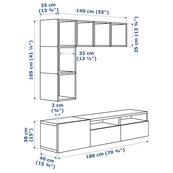BESTÅ / EKET تشكيلة خزانات لتلفزيون أبيض/أسود-بني/أبيض/لامع 70 سم 180 سم 40 سم 170 سم