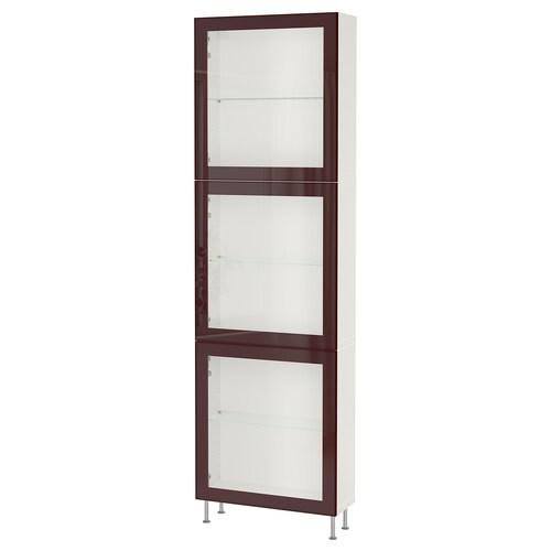 BESTÅ تشكيلة تخزين مع أبواب زجاجية أبيض Glassvik/Stallarp/أحمر-بني غامق زجاج شفاف 60 سم 22 سم 202 سم
