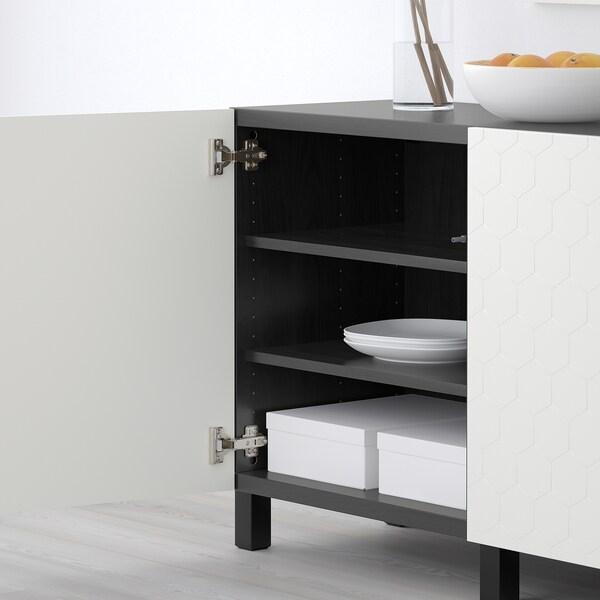 BESTÅ تشكيلة تخزين مع أبواب أسود-بني/Vassviken/Stubbarp أبيض 180 سم 40 سم 74 سم