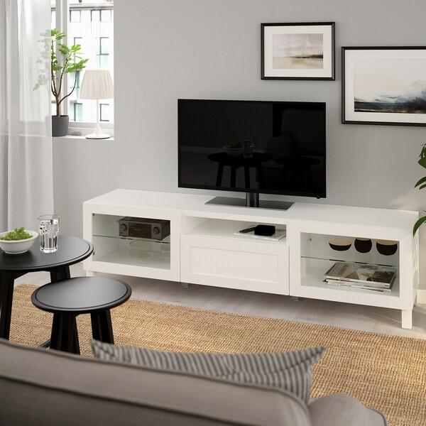 BESTÅ طاولة تلفزيون أبيض/Hanviken أبيض زجاج شفاف 180 سم 40 سم 48 سم 50 كلغ