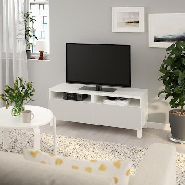 BESTÅ منصة تلفزيون مع أدراج أبيض/Lappviken/Stubbarp رمادي فاتح 120 سم 42 سم 48 سم 50 كلغ