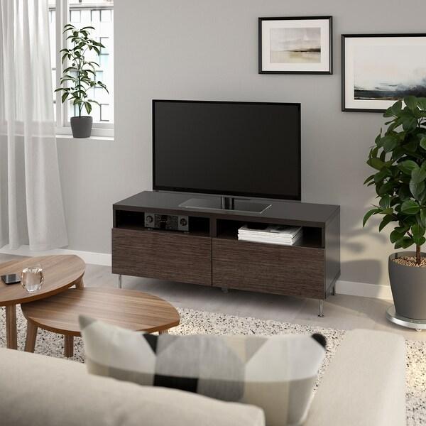 BESTÅ منصة تلفزيون مع أدراج أسود-بني/Selsviken/Stallarp بني/لامع 120 سم 42 سم 48 سم 50 كلغ