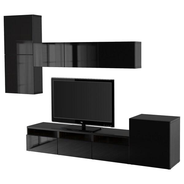BESTÅ تشكيلة تخزين تلفزيون/أبواب زجاجية أسود-بني/Selsviken لامع/زجاج دخاني أسود 300 سم 211 سم 42 سم