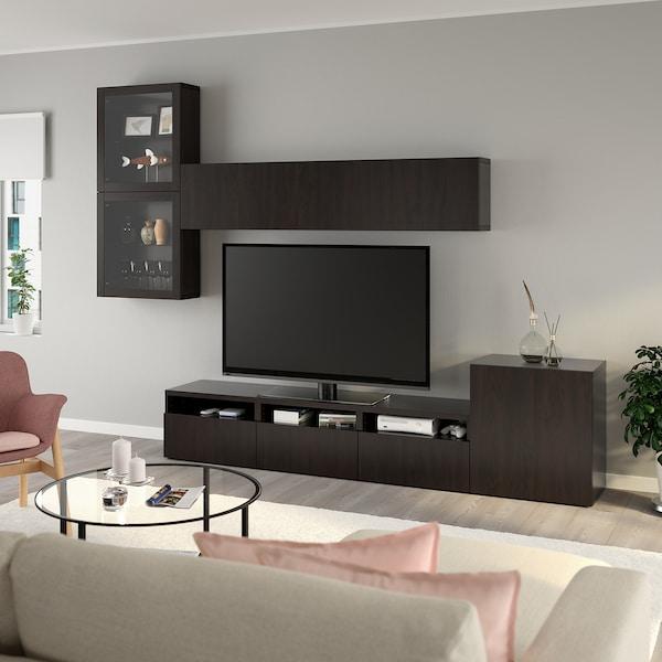BESTÅ تشكيلة تخزين تلفزيون/أبواب زجاجية أسود-بني/Lappviken أسود-بني زجاج شفاف 300 سم 211 سم 42 سم