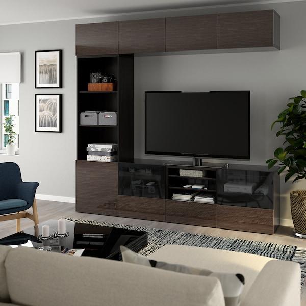 BESTÅ تشكيلة تخزين تلفزيون/أبواب زجاجية أسود-بني/Selsviken لامع/زجاج دخاني بني 240 سم 40 سم 230 سم