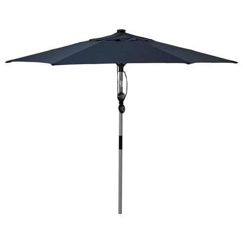 BETSÖ / LINDÖJA مظلة رمادي مظهر الخشب/أزرق غامق 180 g/m² 243 سم 300 سم 48 مم