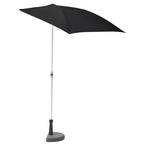 BRAMSÖN / FLISÖ مظلة نزهة مع قاعدة أسود 160 سم 100 سم 157 سم 237 سم