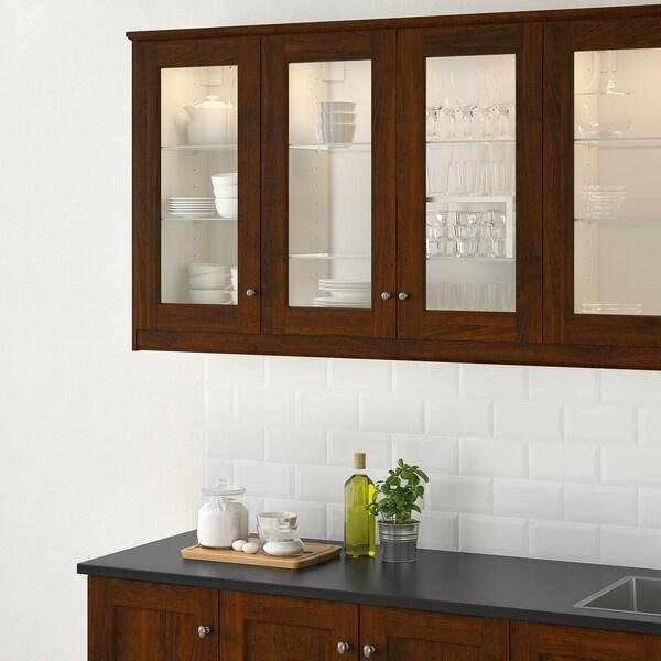 EDSERUM باب زجاج مظهر الخشب بني 39.7 سم 60 سم 40 سم 59.7 سم 1.8 سم