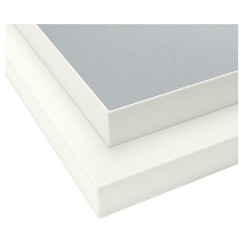 EKBACKEN سطح عمل, مزدوج الجوانب مع حافة بيضاء رمادي فاتح/أبيض/صفائح رقيقة 246 سم 63.5 سم 2.8 سم