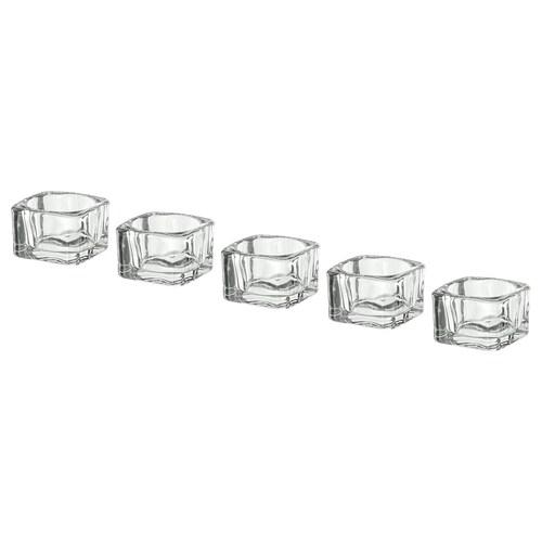 GLASIG حامل شمعة صغيرة زجاج شفاف 5 سم 5 سم 3.5 سم 5 قطعة