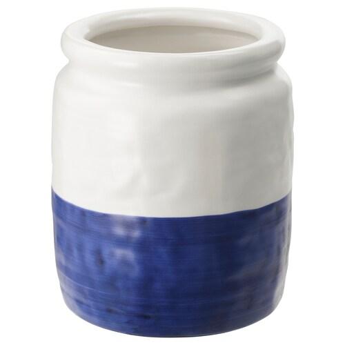GODTAGBAR مزهرية فخّار أبيض/أزرق 18 سم 15 سم