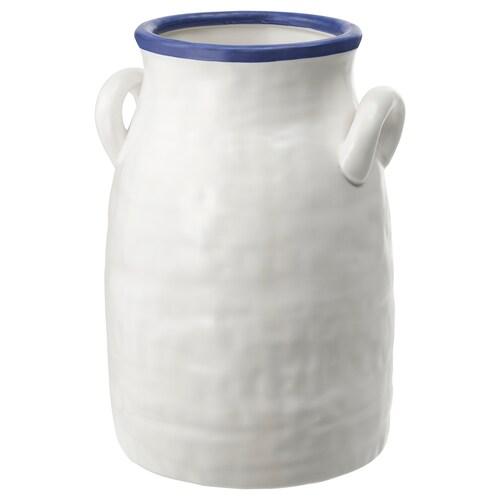 GODTAGBAR مزهرية فخّار أبيض/أزرق 25 سم 17 سم