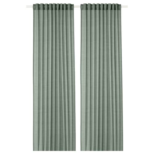 HILJA ستائر، 1 زوج رمادي-أخضر 300 سم 145 سم 1.03 كلغ 4.35 م² 2 قطعة
