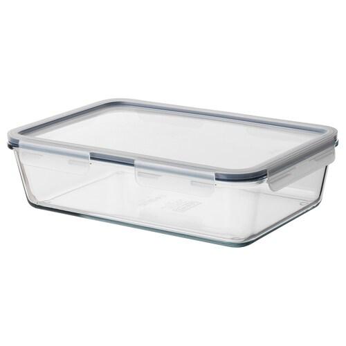 IKEA 365+ حاوية طعام مع غطاء مستطيل/زجاج بلاستيك 32 سم 21 سم 9 سم 3.1 ل