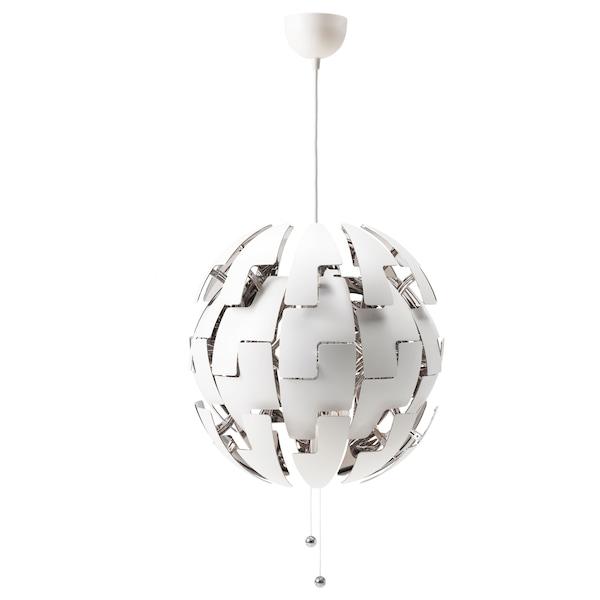 IKEA PS 2014 مصباح معلّق أبيض/لون-فضي 13 واط 52 سم 1.5 م
