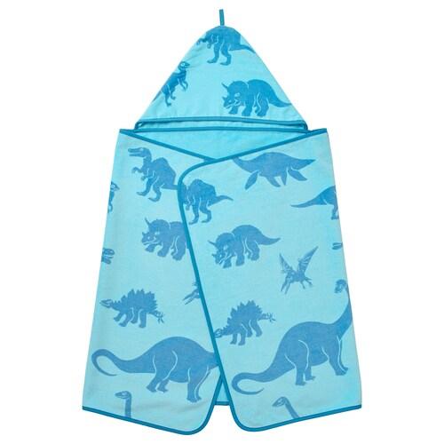 JÄTTELIK منشفة مع غطاء. ديناصور/أزرق 140 سم 70 سم