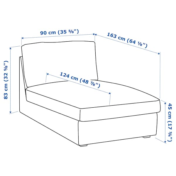 KIVIK أريكة طويلة Hillared بيج 90 سم 163 سم 83 سم 124 سم 45 سم