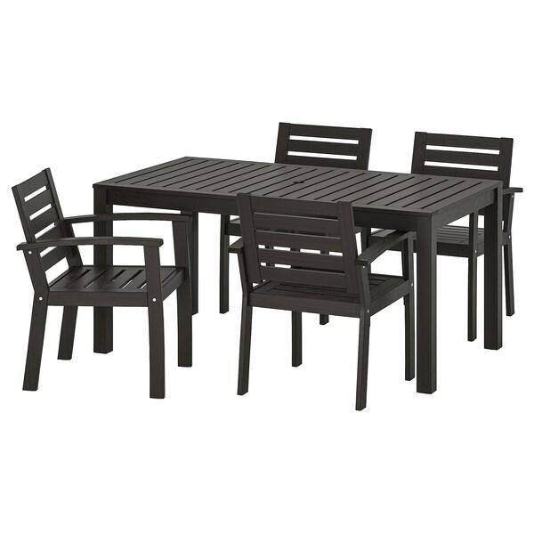 KLÖVEN طاولة+4كراسي بمساند ذراعين،خارجية أسود-بني