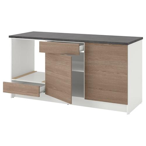 KNOXHULT خزانة قاعدة بأبواب ودرج مظهر الخشب/رمادي 182.0 سم 180.0 سم 61.0 سم 91.0 سم