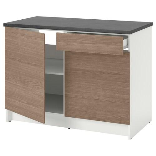 KNOXHULT خزانة قاعدة بأبواب ودرج مظهر الخشب/رمادي 122.0 سم 120 سم 61.0 سم 91.0 سم