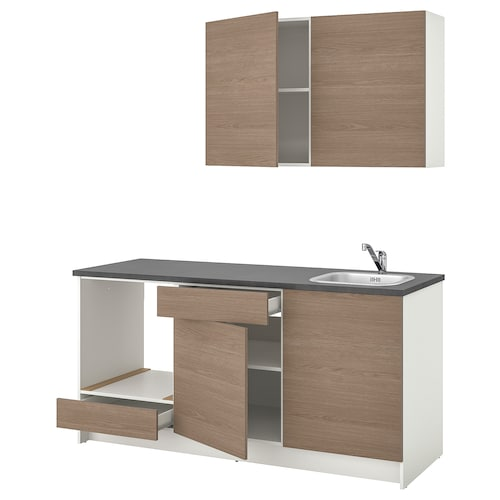 KNOXHULT مطبخ مظهر الخشب رمادي 180.0 سم 61.0 سم 220.0 سم