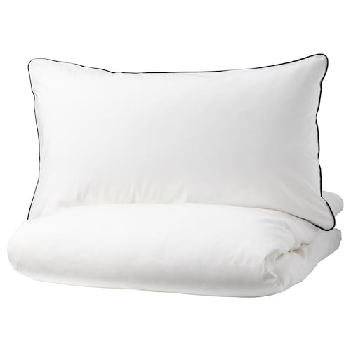 KUNGSBLOMMA غطاء لحاف/مخدة أبيض/رمادي 200 بوصة مربعة 1 قطعة 200 سم 150 سم 50 سم 80 سم