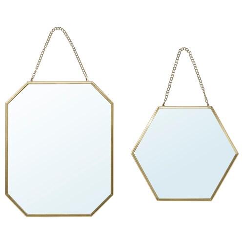 LASSBYN مرآة، طقم من 2. لون ذهبي