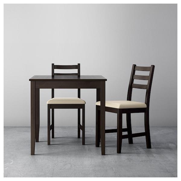 LERHAMN طاولة وكرسيان أسود-بني/Vittaryd بيج 74 سم 74 سم 75 سم