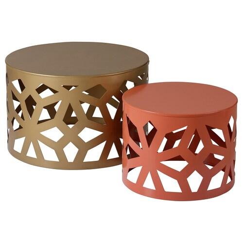 LJUV طاولات متداخلة، طقم من 2. لون ذهبي/أحمر