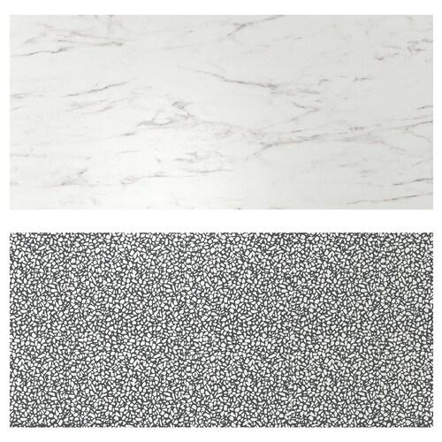 LYSEKIL لوح حائط ثنائي الجانب. مظهر الرخام أبيض/أسود/ أبيض نقش فسيفساء 119.6 سم 55 سم 0.2 سم