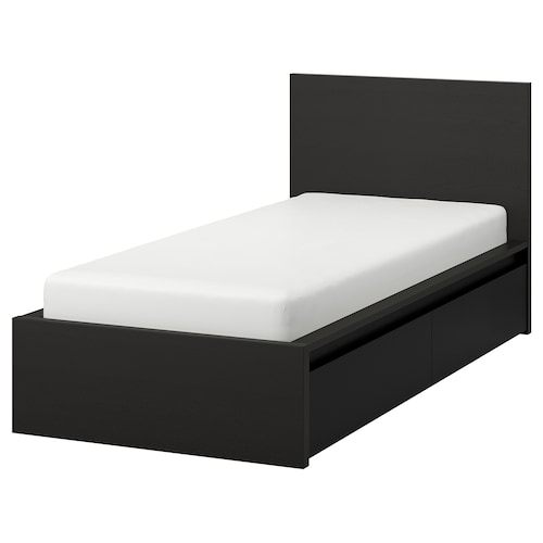 MALM هيكل سرير، عالي، مع صندوقي تخزين أسود-بني 15 سم 209 سم 105 سم 97 سم 59 سم 38 سم 100 سم 200 سم 90 سم 100 سم