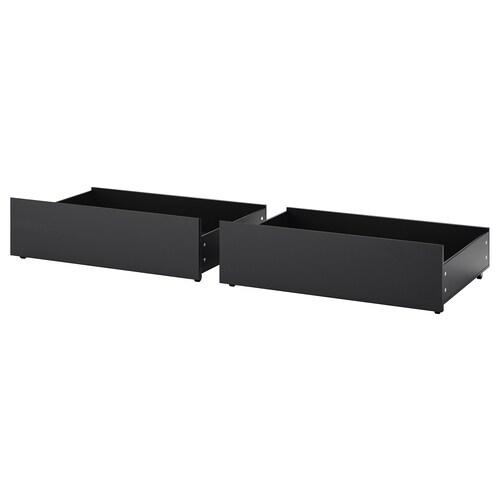MALM صندوق تخزين لهيكل سرير عالي أسود-بني 15 سم 100 سم 62 سم 29 سم 97 سم 59 سم 2 قطعة 200 سم