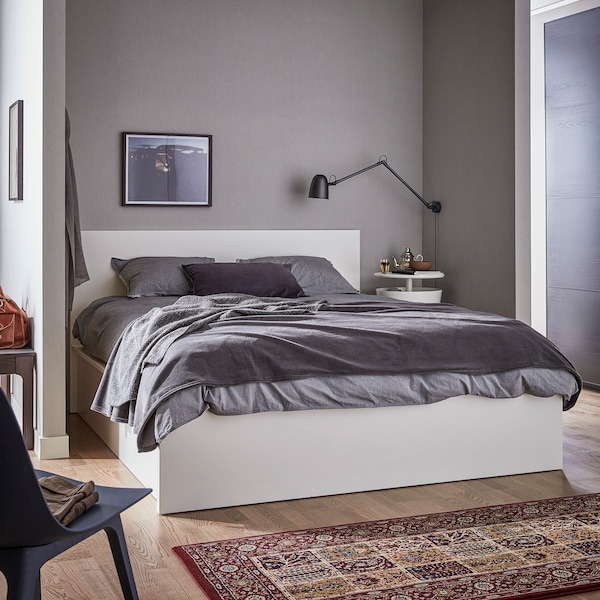 MALM سرير أوتومان أبيض 202 سم 161 سم 28 سم 210 سم 175 سم 38 سم 100 سم 200 سم 160 سم