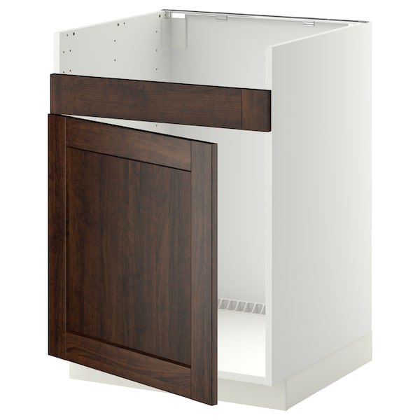 METOD خزانة قاعدة لحوض مفرد HAVSEN أبيض/Edserum بني 60.0 سم 61.8 سم 88.0 سم 60.0 سم 80.0 سم