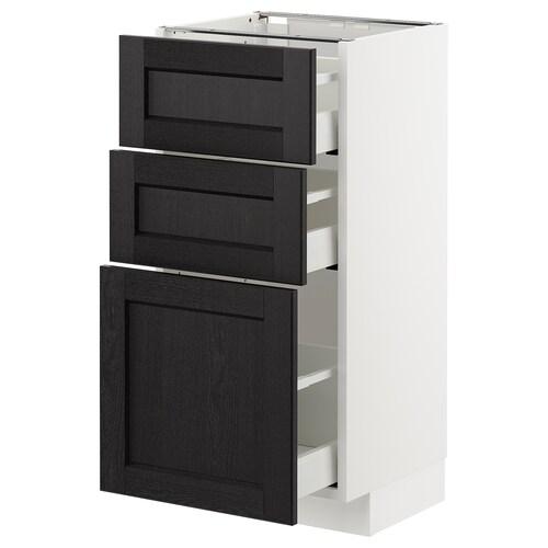 METOD خزانة أساسية مع 3 أدراج أبيض/Lerhyttan صباغ أسود 40.0 سم 39.5 سم 88.0 سم 37.0 سم 80.0 سم