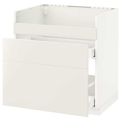 METOD قاعدة HAVSEN مع حوض/3 واجهات/درجين أبيض Maximera/Veddinge أبيض 80.0 سم 61.6 سم 88.0 سم 60.0 سم 80.0 سم