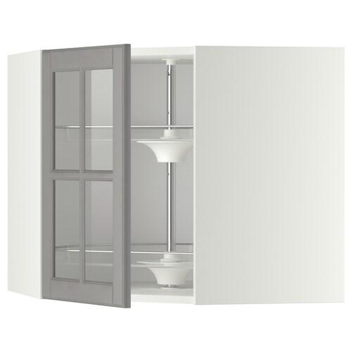 METOD خ. حائط زاوية+رف دوّار/ب. زجاجي  أبيض/Bodbyn رمادي 67.5 سم 67.5 سم 60.0 سم