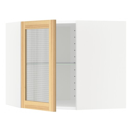 METOD خ. حائط زاوية+أرفف/ب. زجاجي  أبيض/Torhamn رماد 67.5 سم 67.5 سم 60.0 سم