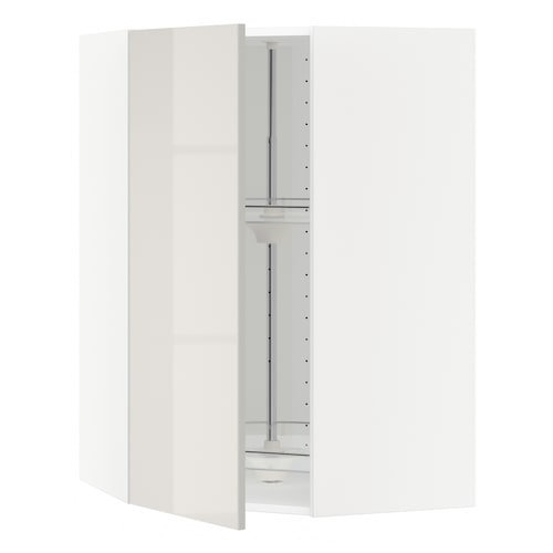 METOD خزانة حائط ركنية مع درج دوار أبيض/Ringhult رمادي فاتح 67.5 سم 67.5 سم 100.0 سم